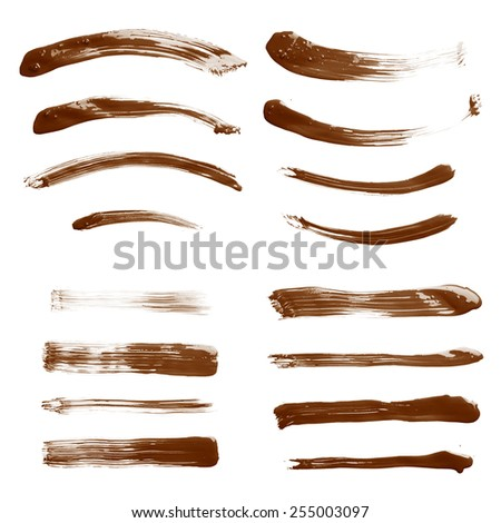 Set of multiple straight and curved oil paint handmade brush strokes isolated over the white background as a backdrop's design element collection - stock photo