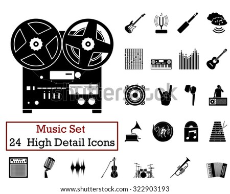 Set of 24 Music Icons in Black Color. - stock photo