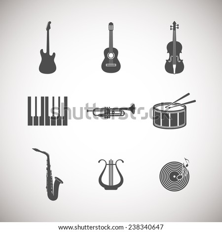 set of music instrument icons  - stock photo