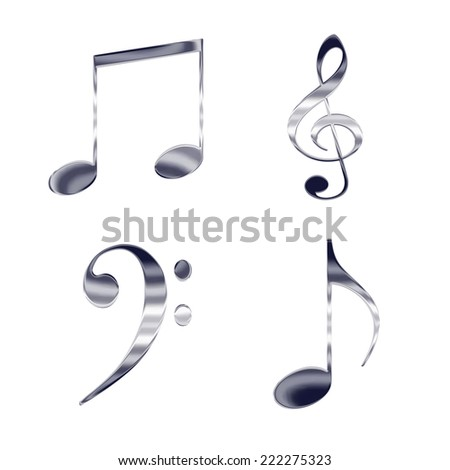 Set of music notes and symbols silver metal icons - stock photo
