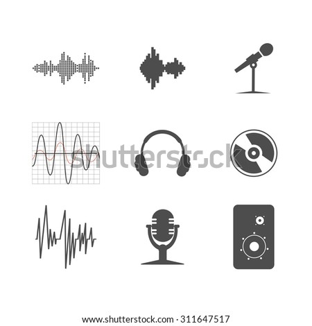 set of musical icons - stock photo