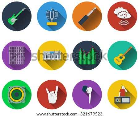 Set of musical icons in flat design. Raster illustration. - stock photo