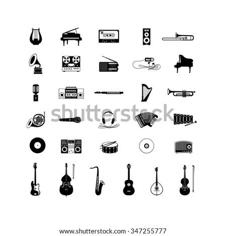 Set of Musical Instruments Icons - stock photo