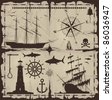 Set of nautical design elements. No trace. Raster version of the illustration. - stock photo