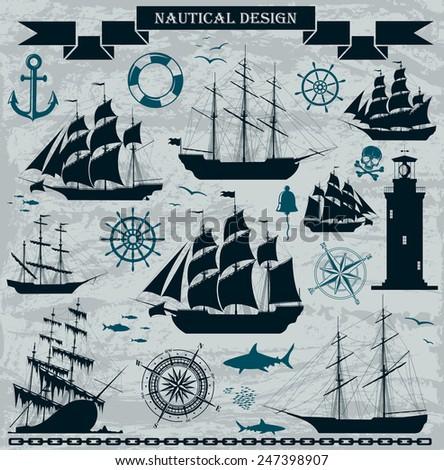 Set of nautical design elements - Raster version of the illustration. - stock photo
