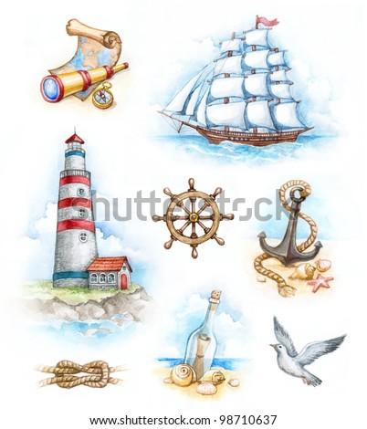 Set of nautical watercolor illustrations - stock photo