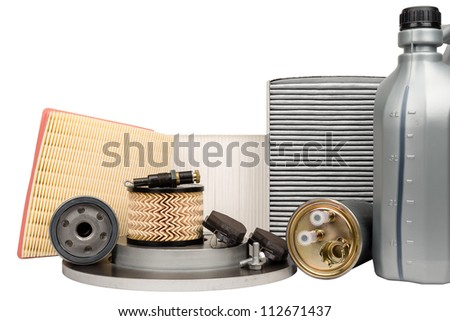 Set of necessary parts for vehicle service - stock photo