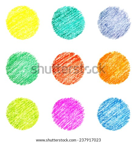 Set of nine colorful circles, hatched by pastel crayons - stock photo