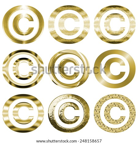 Set of nine copyright symbols in shiny gold brass metal textures, including brushed, chrome, flat, beveled, smooth, pitted, & diamond plate. Icons are isolated on a white background. - stock photo