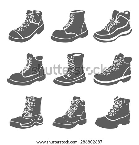 Set of nine different boots illustration isolated on white background - stock photo