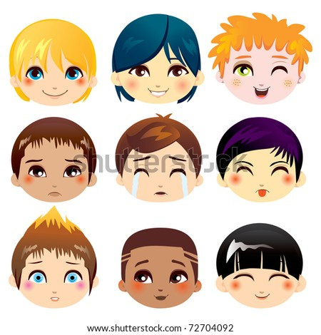 Set of nine facial expressions of little boys from various ethnic groups - stock photo
