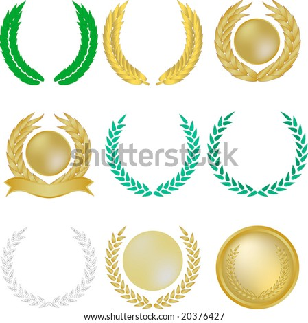 Set of nine laurel wreaths and banners - stock photo