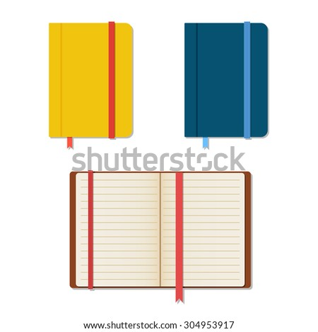Set of notebooks in flat style with shadows - stock photo