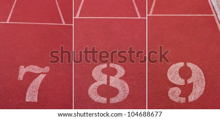 Set of Numbers of track lanes in sports runway (7 8 9) - stock photo