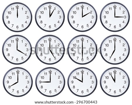 Set of office clocks showing various time isolated on white background - stock photo