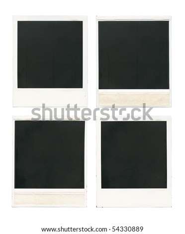 Set of old blank cards isolated over white - stock photo