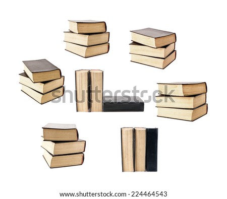 set of old books stacked - stock photo