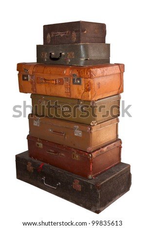 set of old colored of suitcases isolated on white background - stock photo