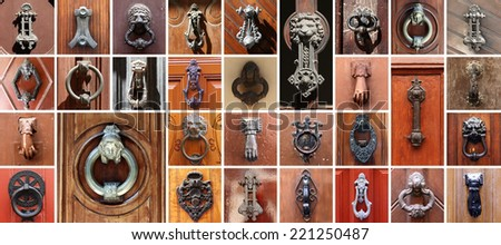Set of 31 old doors with knockers - stock photo