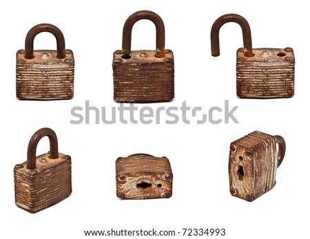 set of old lock isolated on white background (Hi Resolution) - stock photo