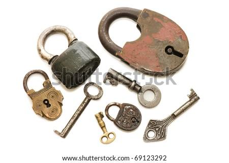 Set of old locks isolated on white background - stock photo