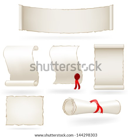 Set of old paper scrolls - stock photo