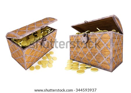 Set of Old wooden chest with gold coins.Iisolated on white. - stock photo