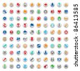 Set of one hundred multicolored buttons and icons for website interface, business designs, finance, security and leisure. Raster version. Vector version is also available. - stock photo