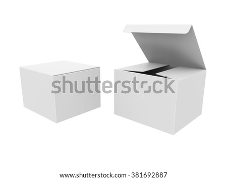 Set of Open and closed blank paper boxes isolated on a white background - stock photo