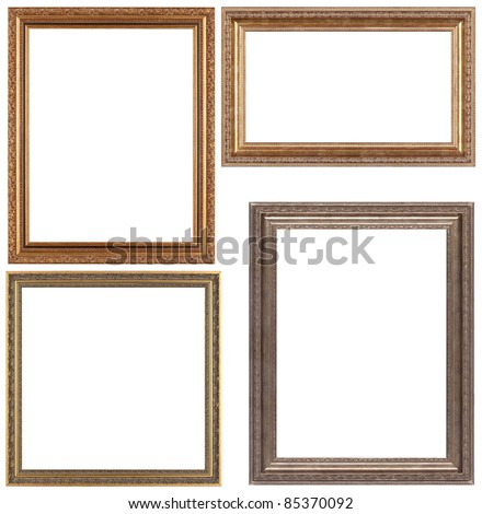 Set of opulent golden and classical picture frames for your individual content. Isolated on white. - stock photo