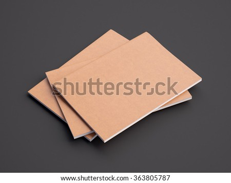 Set of orange color notebooks on the dark background. Horizontal. 3d render - stock photo