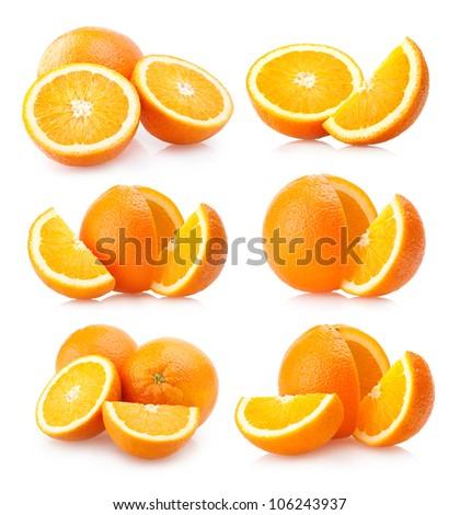 set of 6 orange images - stock photo