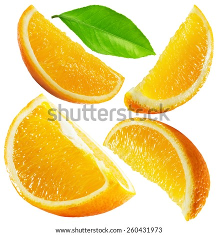 set of oranges isolated on the white background - stock photo