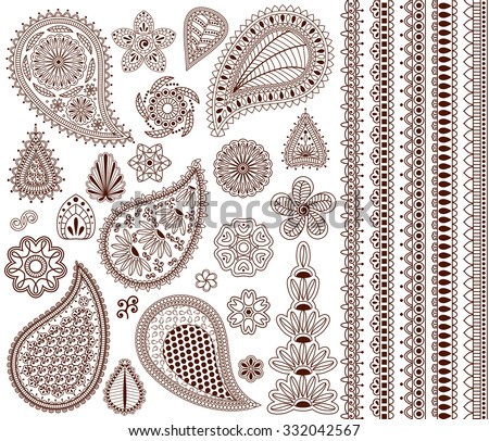 Set of oriental ornaments for henna tattoo and for your design. Plus five seamless borders. - stock photo