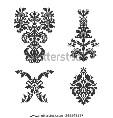 Set of ornamental vector damask elements. For your design invitations or announcements - stock photo