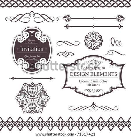 Set of ornate vector frames, ornaments and dividers. Perfect to embellish your designs, invitations, or announcements. - stock photo