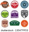 Set of outdoor adventure and expedition badges - stock photo