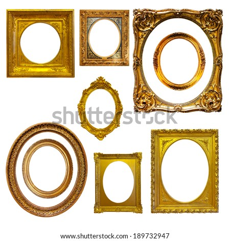 Set of oval picture  frames. Isolated on white - stock photo