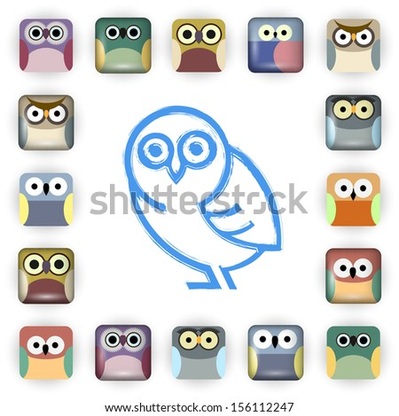 Set of owl icons.Raster version - stock photo