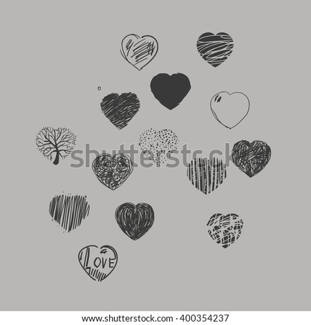 Set of painted hearts. Black and white graphic image. - stock photo