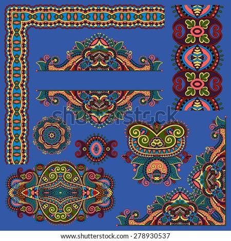 set of paisley floral design elements for page decoration, frame, corner, divider, circle snowflake, stripe pattern, ultramarine color, raster version - stock photo