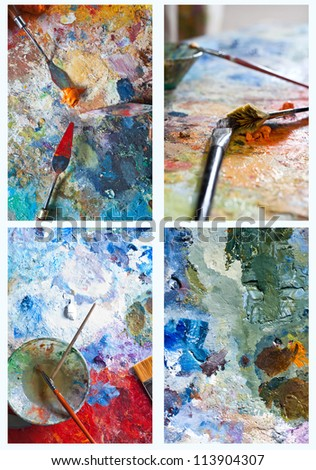 set of  Palette with paints and brushes - stock photo