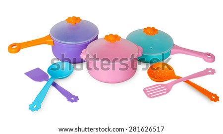 Set of pans with kitchen utensils isolated on white background - stock photo