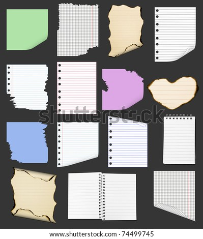 Set of Paper Items isolated on black - stock photo