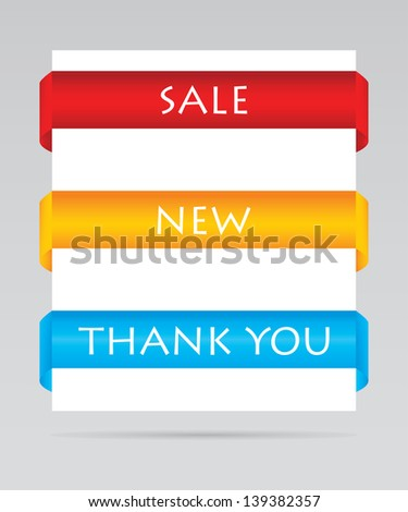 set of paper tags for sale, new and thank you items - stock photo