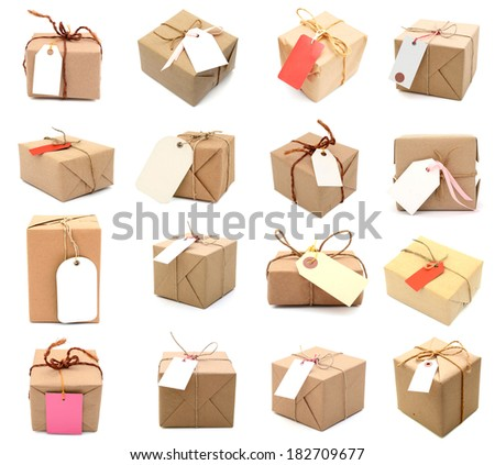 Set of 16 Parcel box with tag, isolated on white  - stock photo