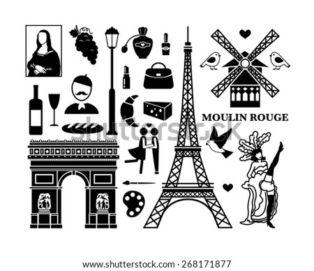 Set of Paris icons. Cosmetics and Arc de Triomphe, Moulin Rouge and Eiffel Tower - stock photo