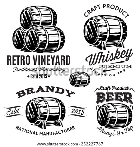 set of patterns for monochromatic emblems with barrels - stock photo