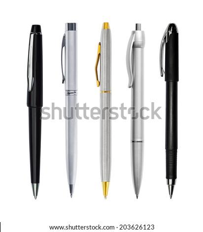 Set of pens isolated on white background - stock photo
