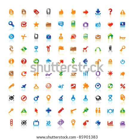 Set of 100 perfect designer icons for web, business, media and leisure. Raster version. Vector version is also available. - stock photo